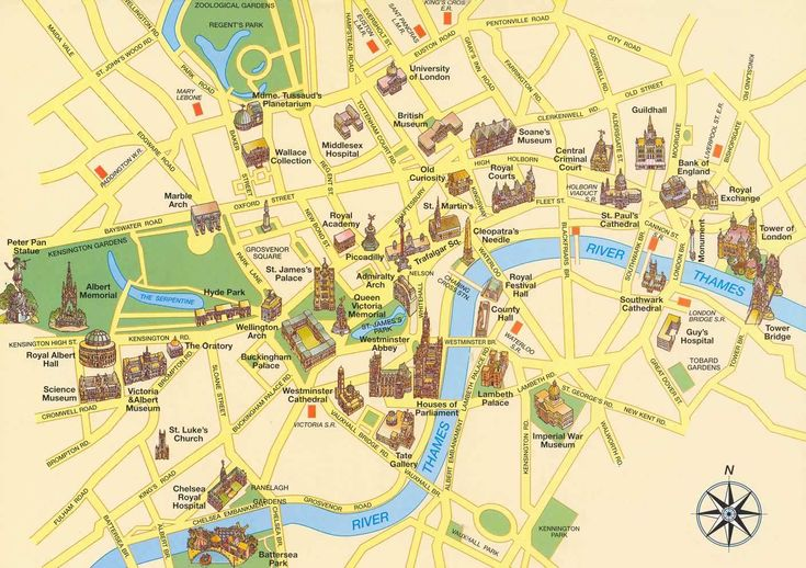 Large detailed tourist map of London city center. London city center large detailed tourist map.