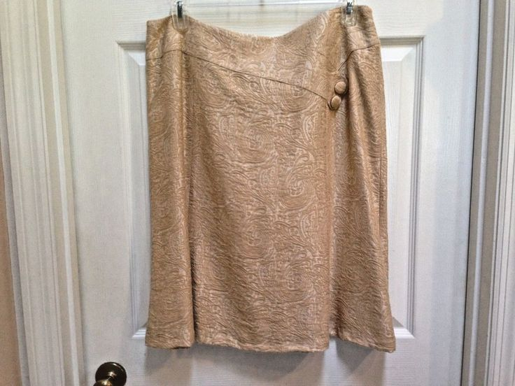 Coldwater Creek size 16 A-Line Skirt Cream and Gold Paisley Jacquard Rayon blend #ColdwaterCreek #ALine