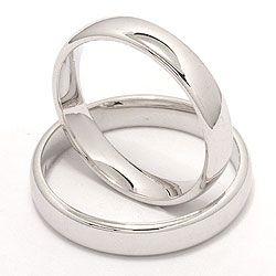 Glatt ovale gifteringer i 14 karat hvitt gull - par