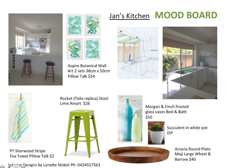 Final mood board for Kitchen.  Prints for the wall, tea towels, new stools, and a vignette of two vases and a plant set upon a wooden platter = total cost $220.  Adding a coloured pergola outside to replace the blind, plus the addition of two down lights in the bulk head above the kitchen window.