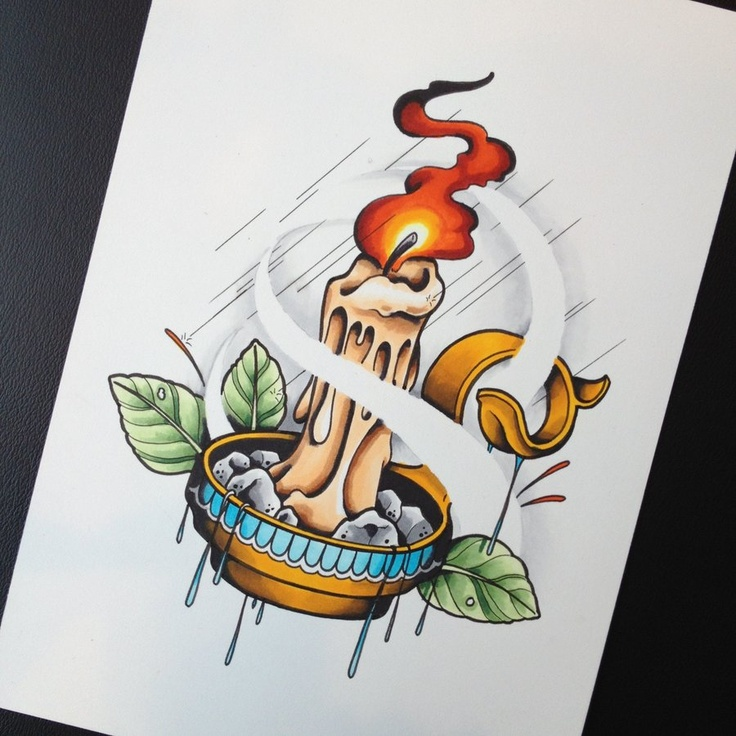 Candle Elements Tattoo Design, Flash by calico1225.deviantart.com