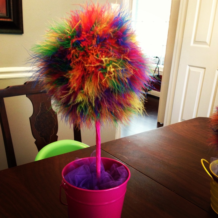 Rainbow Party Decor Feather boa, foam ball, stick, ribbon and there you go!