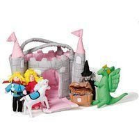 Oskar  Ellen 6 piece Castle Play Bag Pink Towers Soft Fabric Playset Toy *** AMAZON Great Sale