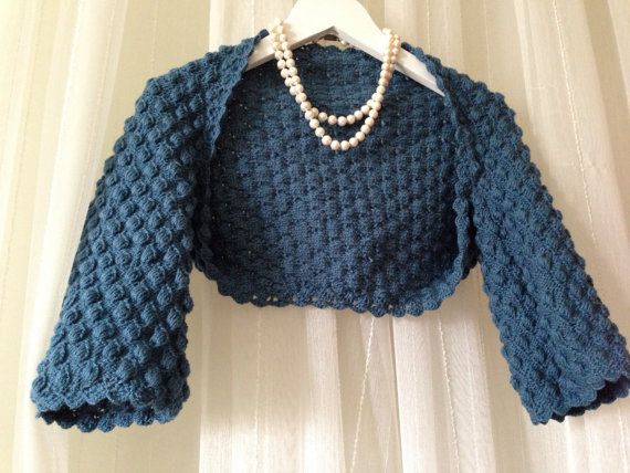 Steel Blue Cover up Bolero Shrung by fyboutique on Etsy