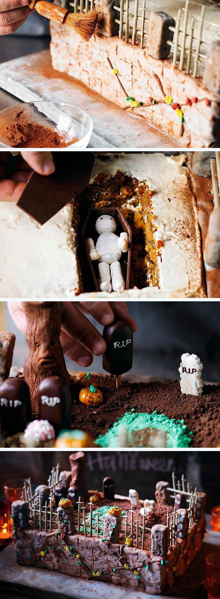 Possibly the best Halloween cake ever... Heston's Ultimate Halloween Cake recipe, complete with a zombie grave!:
