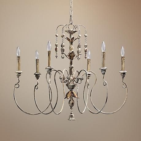Simple and elegant curves give this Persian white chandelier a dramatic presence.