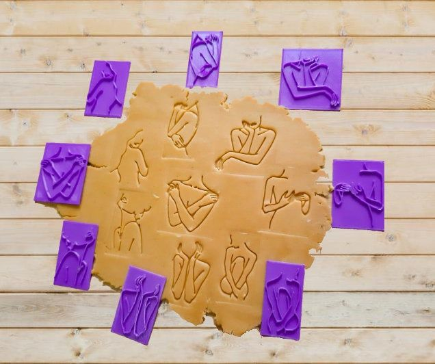 Cookies Stamp For Fondant Polymer Clay Abstract Face 10 Embosser Ceramics Soap and dough