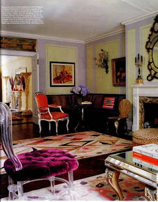 Amy Fine Collin's NYC living room: Fashion Life, Living Rooms, Fine Collins, Purple Rugs, Interiors Design, Color Interiors, Cushions Chairs, Amy Fine, Chic Design