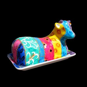 Cow Butter Dish, Hand Painted Porcelain By CHH Design   Tsarina