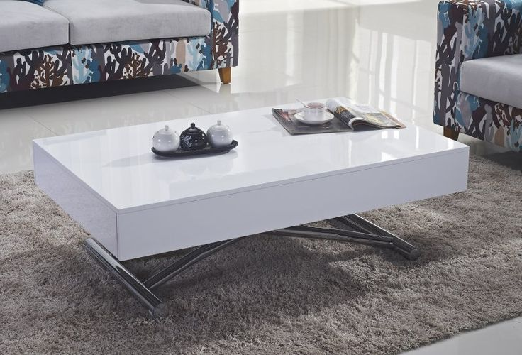 Table basse relevable cube blanche brillante extensible for Table extensible 16 couverts