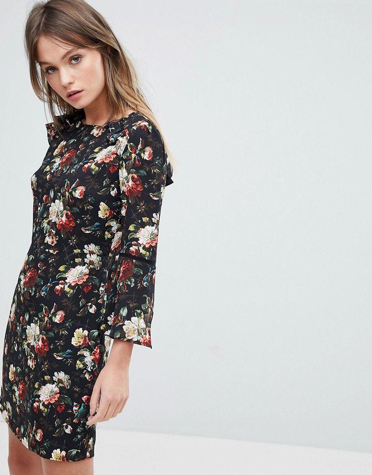 Oasis Rose Print Flute Sleeve Shift Dress - Multi
