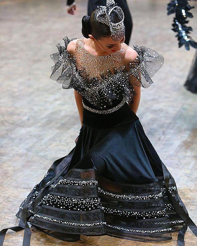 Black and white crystal modern ballroom dress                                                                                                                                                                                 More