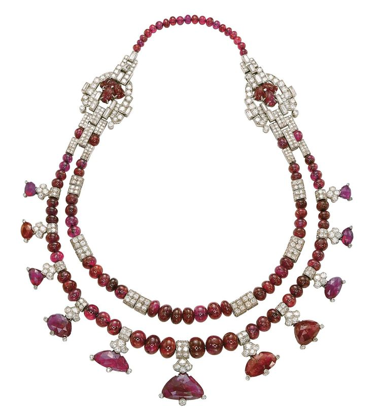 AN ART DECO RUBY AND DIAMOND NECKLACE, BY CARTIER