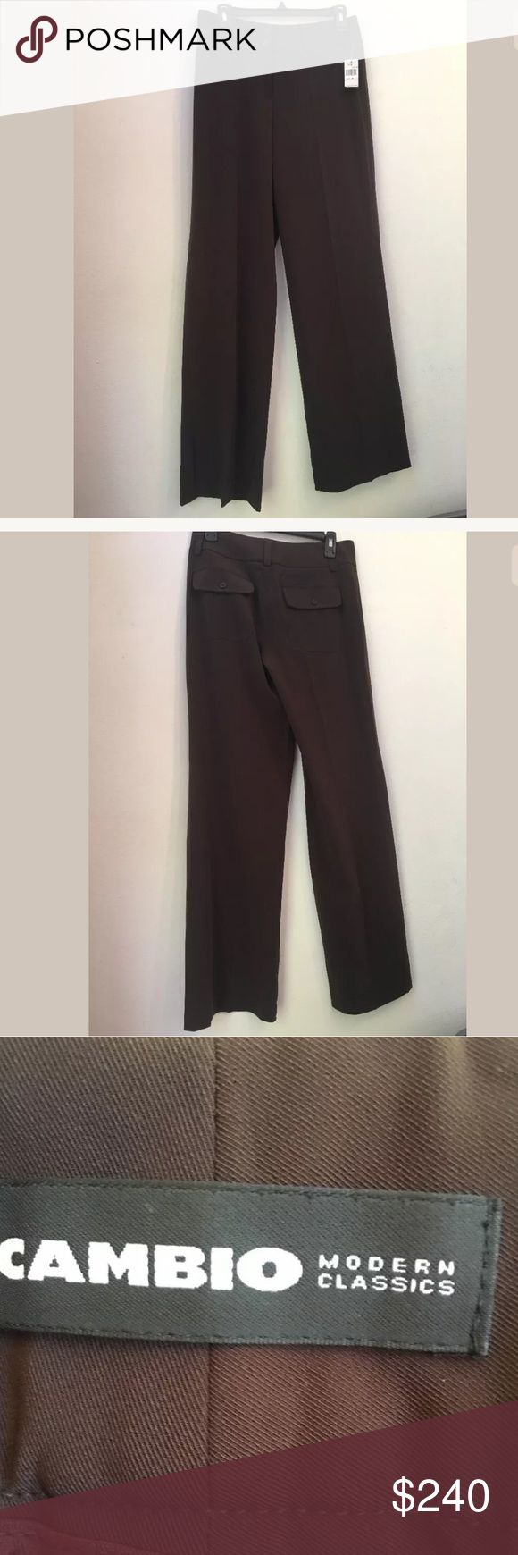 NWT $240 CAMBIO Solid Brown Tracey Dress Pants 6 NWT $240 CAMBIO C16 Solid Brown Tracey Dress Pants Size 6  Your satisfaction is our #1 priority.  This is why we ship twice daily Monday thru Saturday to get the item to you as quickly as possible!! :).  If for any reason you are not 100% satisfied please message us and we will work with you to make it right!!      Measurements: Waist: approx. 28 inches Inseam: approx. 33 inches  -Retails Price: $240 + TAX -Material: 90% Polyester, 10%…