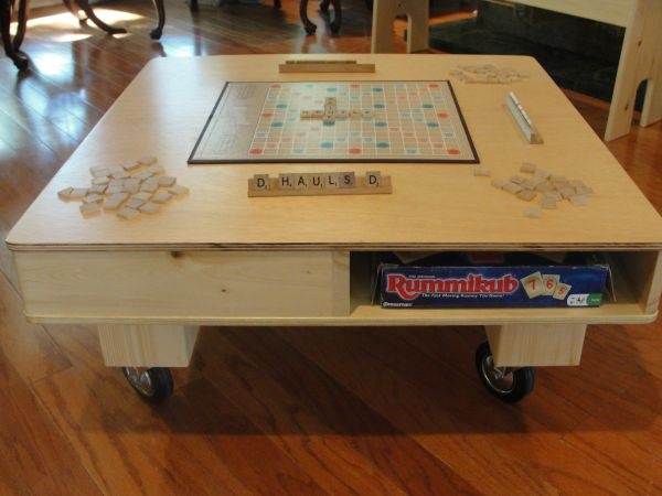 BASEMENT: game table and game organization at bottom of stairs; create scrabble art; chalkboard