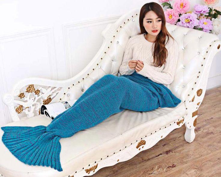 >> Click to Buy << Mermaid tail Blanket crochet Sofa throw Air Conditioning plaid Adult Children kids women warm mermaid fish Sleeping Bag #Affiliate