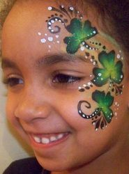 Shamrock face paint idea for St.Patrick's day