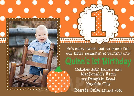 Pumpkin Birthday Invitation Fall Pumpkin 1st by TheTrendyButterfly, $15.00