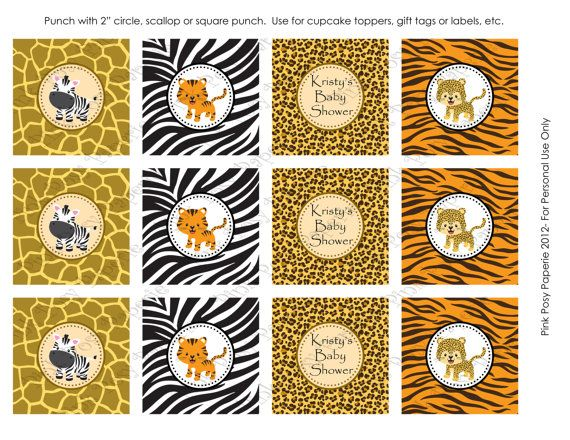 Printable Safari Baby Shower Cupcake Toppers by PinkPosyPaperie, $4.00