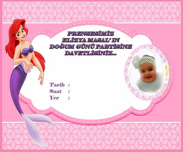 Deniz Kızı Ariel Davetiye, Küçük Deniz Kızı Ariel Doğum Günü