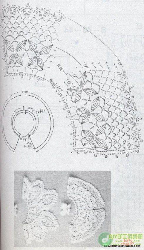 CROCHET COLLAR PATTERN - PATRON CUELLO DE GANCHILLO: Neck, Tassen Crochet, Collars Charts, Charts Patterns, Crochet Collars Patterns, Crochet Tricot, Cuello En Crochet, Cuello Tejido, Crochet Clothing