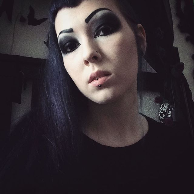 """Makeup of yesterday and again new lenses from @linsenfinder  They are black and named """"Hexe"""" that means witch.  #linsenfinder #witch #lenses #blacklenses #contactlens #makeup #gothmakeup #goth #gothic #gothgirl #bluehair"""