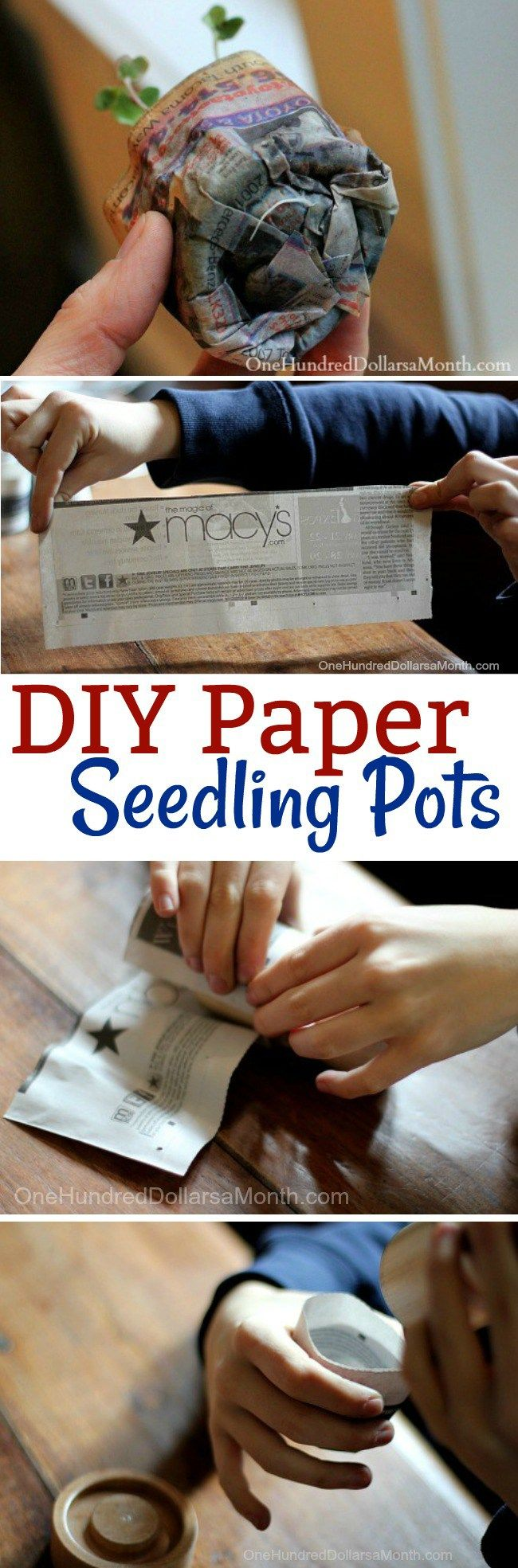 DIY, How to Make Paper Pots, Gardening Tips, Gardening Container Ideas, Starting Seeds, Starting Seedlings, Recycled Crafts, Garden crafts for Kids