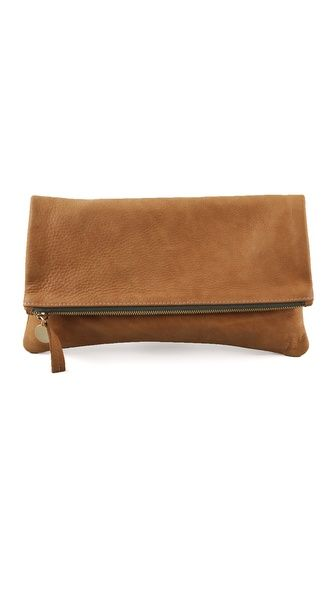 "CLARE VIVIER Fold Over Clutch  This folded, pebbled leather clutch features a logo pull at the zip closure.    * 5.5""H x 11.5""L (folded).  * 11""H x 11.5""L (unfolded).  * Leather: Lambskin.  * Weight: 6 oz / 0.17 kg  * Made in the USA."