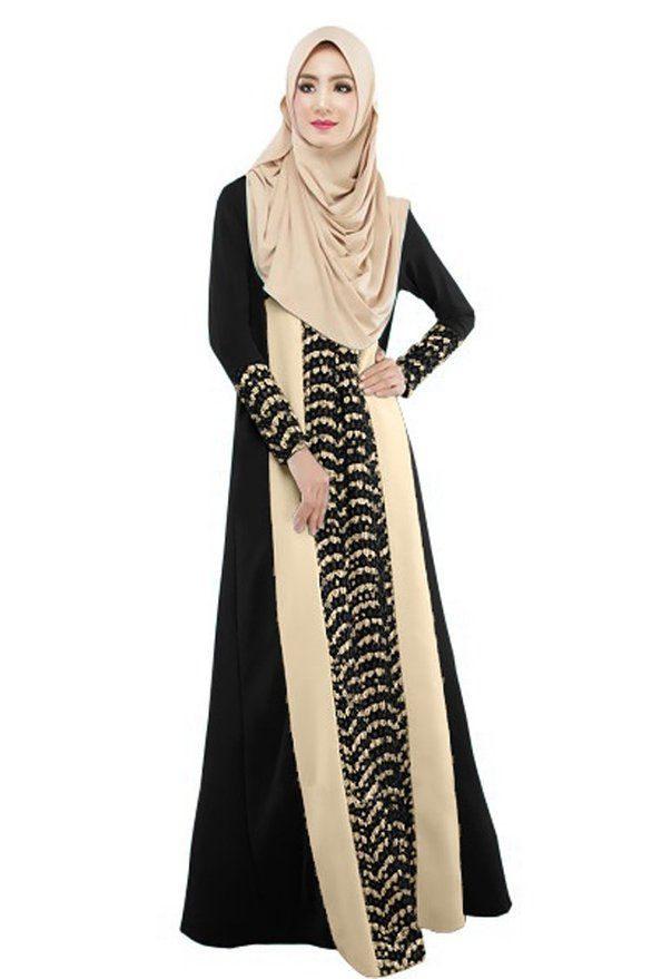 Amazon.com: Women's Cotton Lace Ethnic Muslim Dress Jilbab Look Abaya Long Prayer Dress: Clothing #prayer #islam