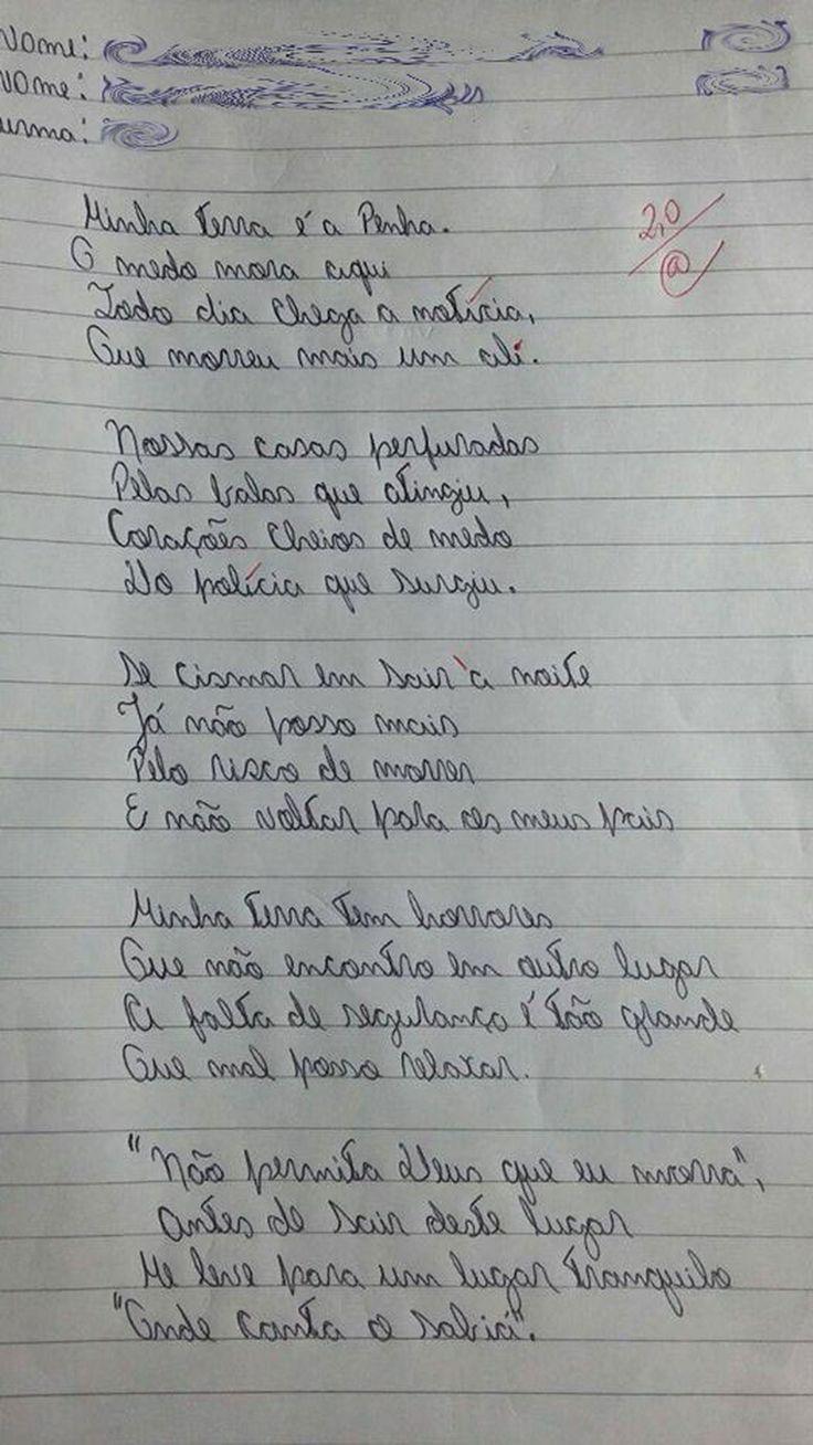 'Minha terra tem horrores': versão de poema feita por alunos do Rio causa comoção nas redes sociais | Rio de Janeiro | G1
