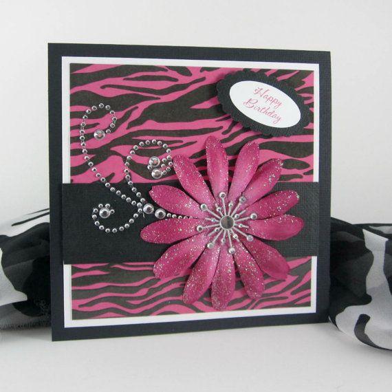 Zebra print card handmade birthday card  by BellaCardCreations, $5.50