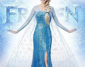Queen Elsa Dress Gorgeous Elsa Dress Elsa Costume Frozen Dress Frozen Costume adult girls girl