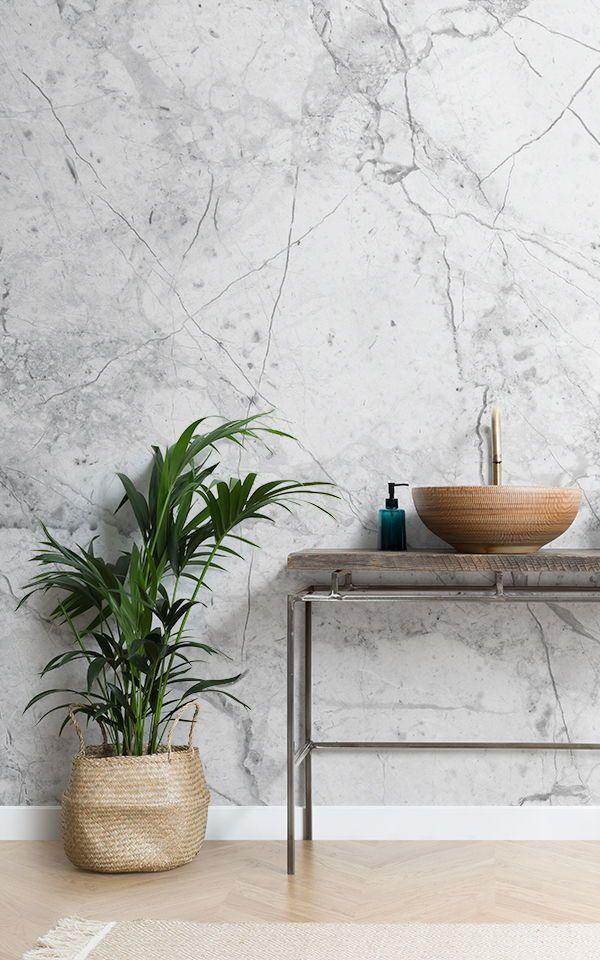 White Marble Wallpaper Textured White Mural Muralswallpaper In 2020 Marble Effect Wallpaper Marble Wall Marble Wallpaper