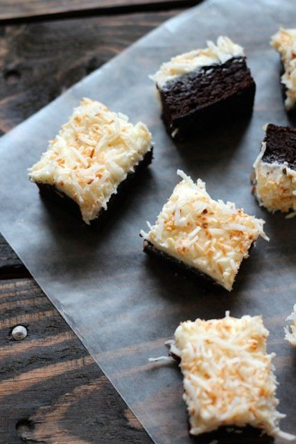 Toasted Coconut Frosted Brownies-Putting this under cake because that's how BIG I'm going to make it :)