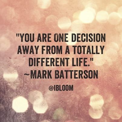 What ONE decision have you been putting off due to fear, worry, anxiety, doubt? That ONE decision could completely change your life for the better! #BeMore