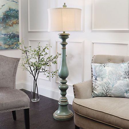 This Burks Turquoise Floor Lamp Exudes Charm With Its Curved Base Details  And Colorful Turquoise Finish. Youu0027ll Love How Quickly It Brightens Your  Decor.