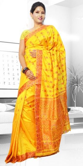 Beautiful Yellow colour Assam Silk Pat saree with artistic Suta Work giving a gorgeous look to the saree. This collection is perfect for any festive occasion. The Saree comes with matching blouse piece, the blouse shown in the image is just for display purpose.Slight colour variation may be there in display & actual.
