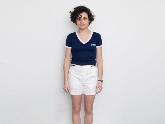 NOS Vintage blanco tenis cortos tamaño S por blessthatdress en Etsy