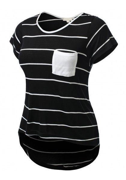 Short Sleeve Crewneck Striped Top with Chest Pocket #jtomsonplussize