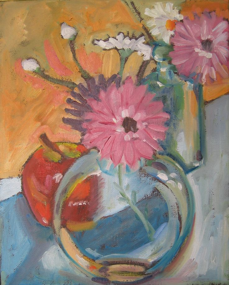 """Apple, flowers and bottles.  Oil on stretched canvas. 8"""" x 10"""""""