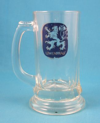 LOWENBRAU BEER 6 IN GLASS MUG - GOOD USED