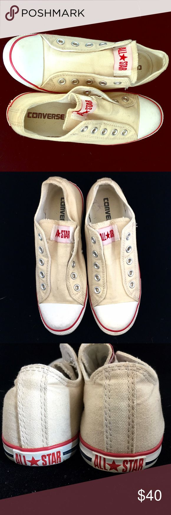 🌸REDUCED🌸Converse Slim Slip-On Sneakers Converse Classic canvas sneaker in a slip-on style. Slim version for a stylish and streamlined look. Textile upper and lining. Rubber soles. By Converse in cream/ beige color. Pre-owned worn twice. No box. Women's Size  6.5. Converse Shoes Sneakers