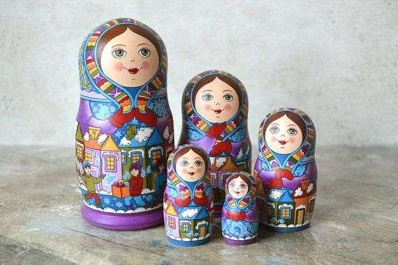 Russian matryoshka nesting doll, 5 pieces  Made of lime tree. Hand painted with tempera. As a basis is taken the traditional painting of the Russian