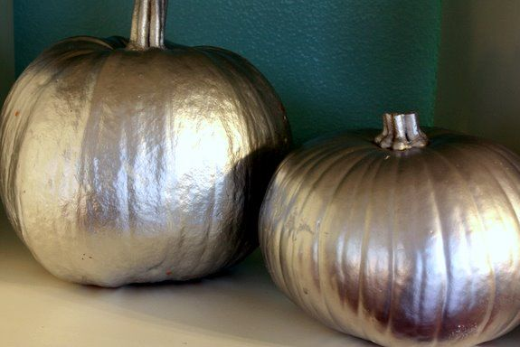 Thanksgiving decor - modern silver painted pumpkins