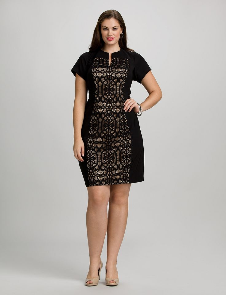 Plus Size | Dresses | Cocktail Dresses | Plus Size Lace Panel Dress | dressbarn