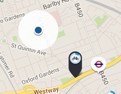 Further down on St Marks Road is the closest Barclays Cycle Hire docking station for picking up  bikes. http://www.tfl.gov.uk/modes/cycling/barclays-cycle-hire (the blue dot is home). It's apx 5 blocks and 5-7 min. walk