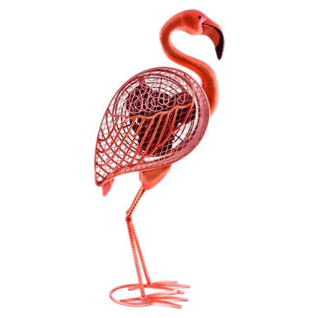 Eco-friendly+pink+flamingo-shaped+fan+crafted+of+cast+metal.+  Product:+FanConstruction+Material:+Cast+metal...