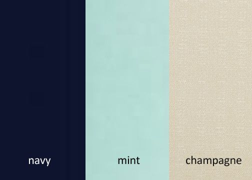 I invented this palette! Navy/mint/champagne. I think it would be very elegant.