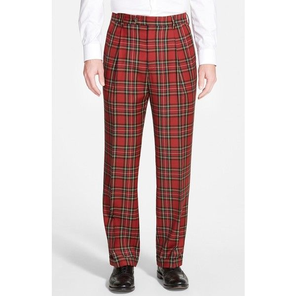 Men's Berle Pleated Plaid Wool Trousers ($175) ❤ liked on Polyvore featuring men's fashion, men's clothing, men's pants, men's casual pants, red, mens tartan plaid pants, mens tartan pants, mens pleated pants, mens plaid pants and mens wool pants