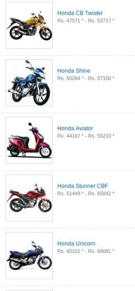 Find Latest Honda bikes - Honda bike and motorcycle. Honda bikes India, View Honda Price, Honda bikes in India, Honda models, Honda specifications, Read Honda Reviews, Honda Average, Honda Mileage , Engine Type, motocycle reviews and upcoming Honda bikes in india